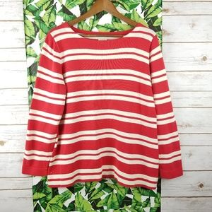 J Crew Factory Placed Stripe Boatneck Sweater